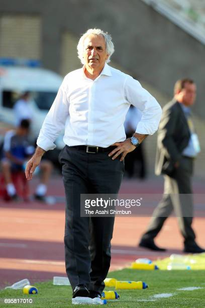 Head coach Vahid Halilhodzic looks on during the FIFA World Cup Russia Asian Final Qualifier match between Iraq and Japan at PAS Stadium on June 13...