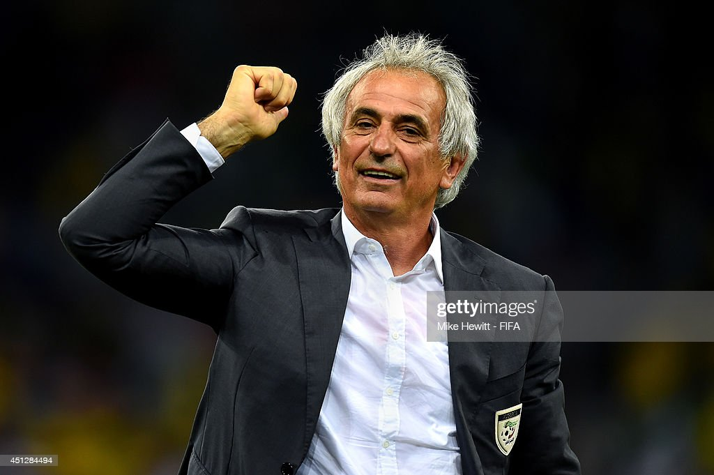 Head coach <a gi-track='captionPersonalityLinkClicked' href=/galleries/search?phrase=Vahid+Halilhodzic&family=editorial&specificpeople=777212 ng-click='$event.stopPropagation()'>Vahid Halilhodzic</a> of Algeria acknowledges the fans after a 1-1 draw during the 2014 FIFA World Cup Brazil Group H match between Algeria and Russia at Arena da Baixada on June 26, 2014 in Curitiba, Brazil.