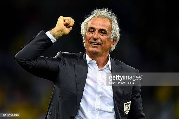 Head coach Vahid Halilhodzic of Algeria acknowledges the fans after a 11 draw during the 2014 FIFA World Cup Brazil Group H match between Algeria and...