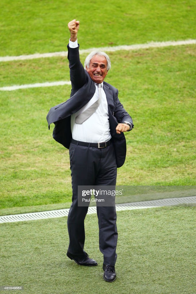Head coach <a gi-track='captionPersonalityLinkClicked' href=/galleries/search?phrase=Vahid+Halilhodzic&family=editorial&specificpeople=777212 ng-click='$event.stopPropagation()'>Vahid Halilhodzic</a> of Algeria celebrates after the third goal during the 2014 FIFA World Cup Brazil Group H match between South Korea and Algeria at Estadio Beira-Rio on June 22, 2014 in Porto Alegre, Brazil.