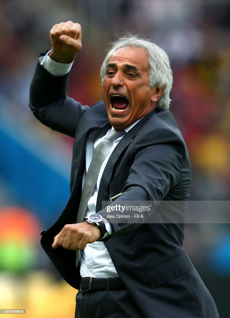 Head coach <a gi-track='captionPersonalityLinkClicked' href=/galleries/search?phrase=Vahid+Halilhodzic&family=editorial&specificpeople=777212 ng-click='$event.stopPropagation()'>Vahid Halilhodzic</a> of Algeria celebrates his team's first goal during the 2014 FIFA World Cup Brazil Group H match between Korea Republic and Algeria at Estadio Beira-Rio on June 22, 2014 in Porto Alegre, Brazil.
