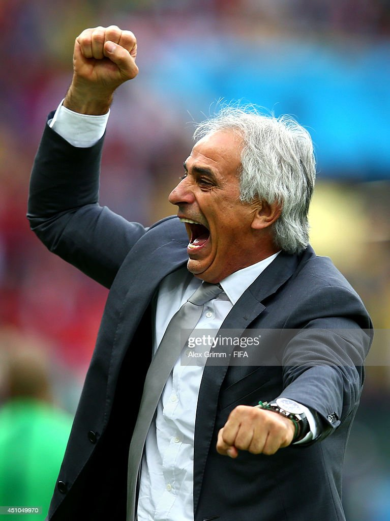 Head coach <a gi-track='captionPersonalityLinkClicked' href=/galleries/search?phrase=Vahid+Halilhodzic&family=editorial&specificpeople=777212 ng-click='$event.stopPropagation()'>Vahid Halilhodzic</a> of Algeria celebrates his team's second goal during the 2014 FIFA World Cup Brazil Group H match between Korea Republic and Algeria at Estadio Beira-Rio on June 22, 2014 in Porto Alegre, Brazil.