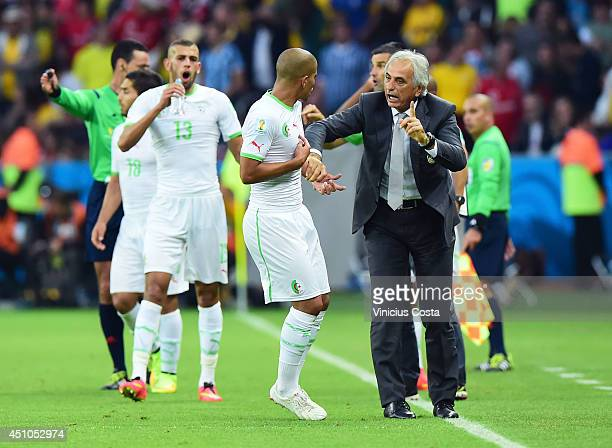 Head coach Vahid Halilhodzic of Algeria gives instructions during the 2014 FIFA World Cup Brazil Group H match between South Korea and Algeria at...
