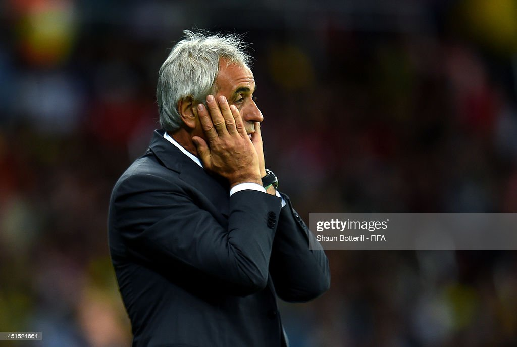 Head coach <a gi-track='captionPersonalityLinkClicked' href=/galleries/search?phrase=Vahid+Halilhodzic&family=editorial&specificpeople=777212 ng-click='$event.stopPropagation()'>Vahid Halilhodzic</a> of Algeria reacts during the 2014 FIFA World Cup Brazil Round of 16 match between Germany and Algeria at Estadio Beira-Rio on June 30, 2014 in Porto Alegre, Brazil.