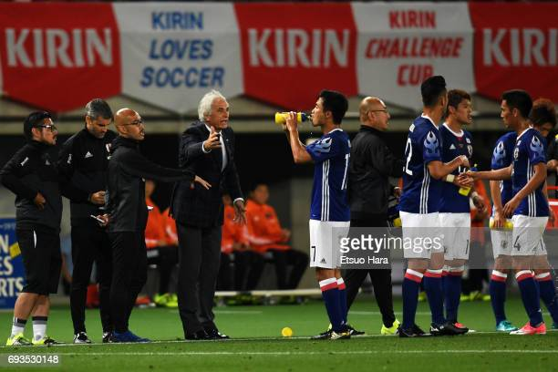 Head coach Vahid Halilhodzic of Japan instructs his player during the international friendly match between Japan and Syria at Tokyo Stadium on June 7...