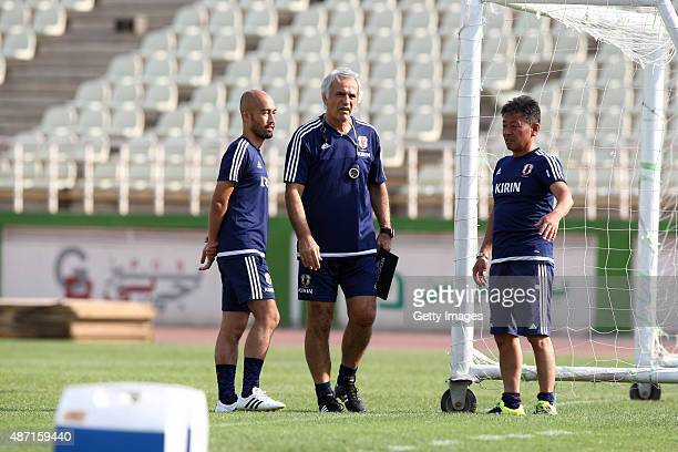 Head coach Vahid Halilhodzic of Japan looks on during a training session ahead of the 2018 FIFA World Cup Russia qualifier against Afghanistan at PAS...