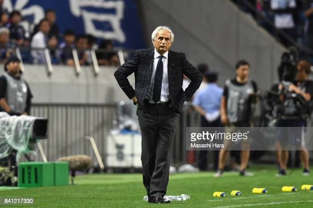 Head coach Vahid Halilhodzic of Japan looks on during the FIFA World Cup Qualifier match between Japan and Australia at Saitama Stadium on August 31...