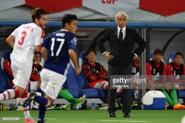 Head coach Vahid Halilhodzic of Japan looks on during the international friendly match between Japan and Syria at Tokyo Stadium on June 7 2017 in...