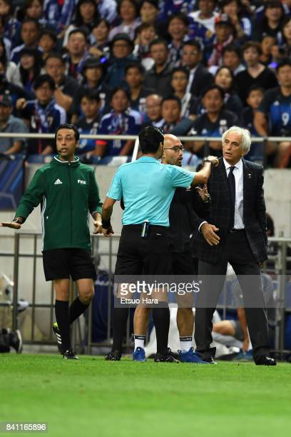 Head coach Vahid Halilhodzic of Japan protests to referee Alireza Faghani during the FIFA World Cup Qualifier match between Japan and Australia at...