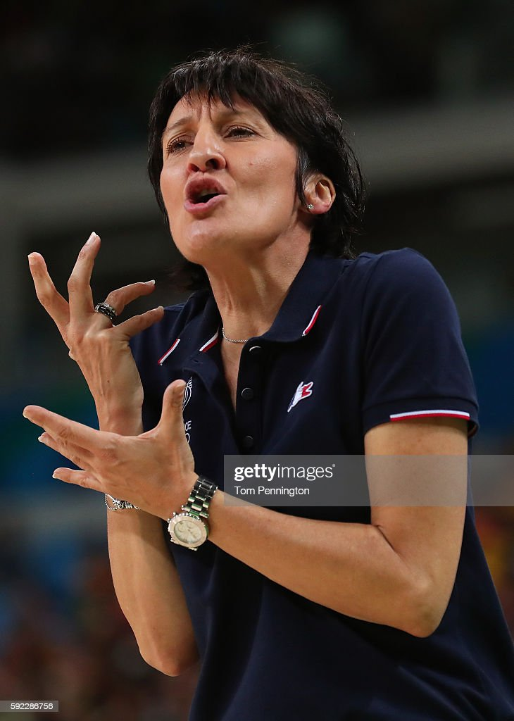 Head coach Valerie Garnier of France looks on during the Women's Bronze Medal basketball game between France and Serbia on Day 15 of the Rio 2016...