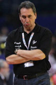 Head coach Valero Rivera of Spain looks dejected after the Men's European Handball Championship bronze medal match between Croatia and Spain at...