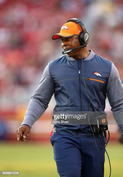 Head coach Vance Joseph of the Denver Broncos walks the sidelines during their game against the San Francisco 49ers at Levi's Stadium on August 19...