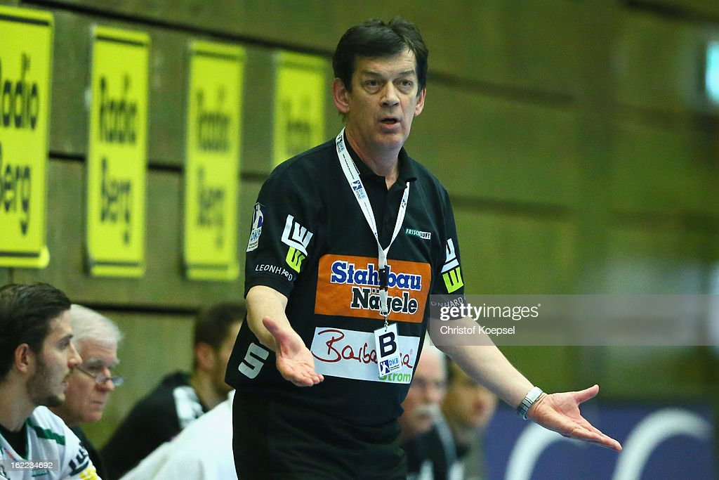 Head coach Velimir Petkovic of Goeppingen looks thoughtful during the DKB Handball Bundesliga match between VfL Gummersbach and FrischAuf Goeppingen at Eugen-Haas-Sporthalle on February 20, 2013 in Gummersbach, Germany.