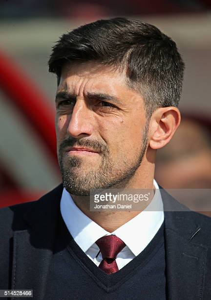 Head coach Veljko Paunovic of the Chicago Fire awaits the start of a match against the New York City FC at Toyota Park on March 6 2016 in Bridgeview...