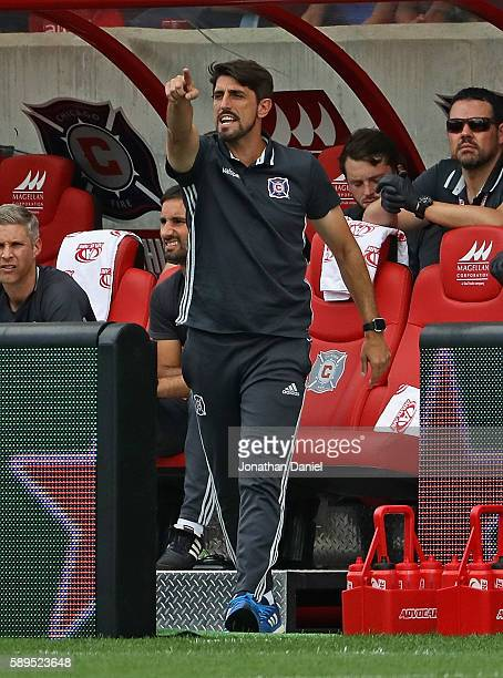 Head coach Veljko Paunovic of the Chicago Fire gives instructions to his his team against the Orlando City FC during an MLS match at Toyota Park on...