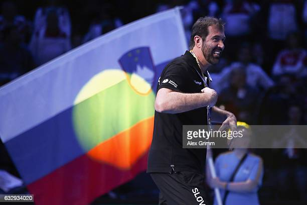 Head coach Veselin Vujovic of Slovenia celebrates after the 25th IHF Men's World Championship 2017 Bronze Medal Game between Slovenia and Croatia at...