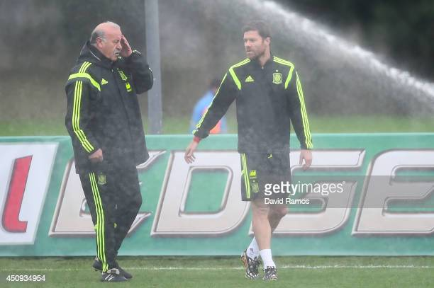 Head coach Vicente Del Bosque chats with Xabi Alonso of Spain during a Spain training session at Centro de Entrenamiento do Caju on June 20 2014 in...