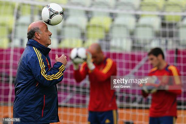 Head coach Vicente del Bosque of Spain juggles with the ball during a UEFA EURO 2012 training session ahead of their Group C match against Italy at...