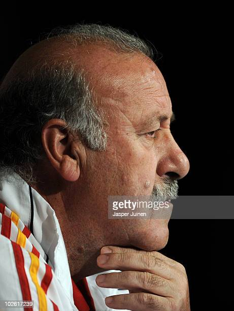 Head coach Vicente del Bosque of Spain listens to questions asked by the media during a press conference ahead of their World Cup 2010 SemiFinal...