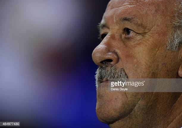 Head coach Vicente del Bosque of Spain looks on during the UEFA EURO 2016 Group C Qualifier between Spain and FYR of Macedonia at Estadio Ciutat de...