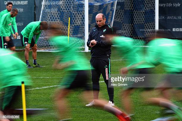 Head coach Viktor Skripnik looks on during a Werder Bremen training session on day 6 of the Bundesliga Belek training camps at Regnum Sports Center...