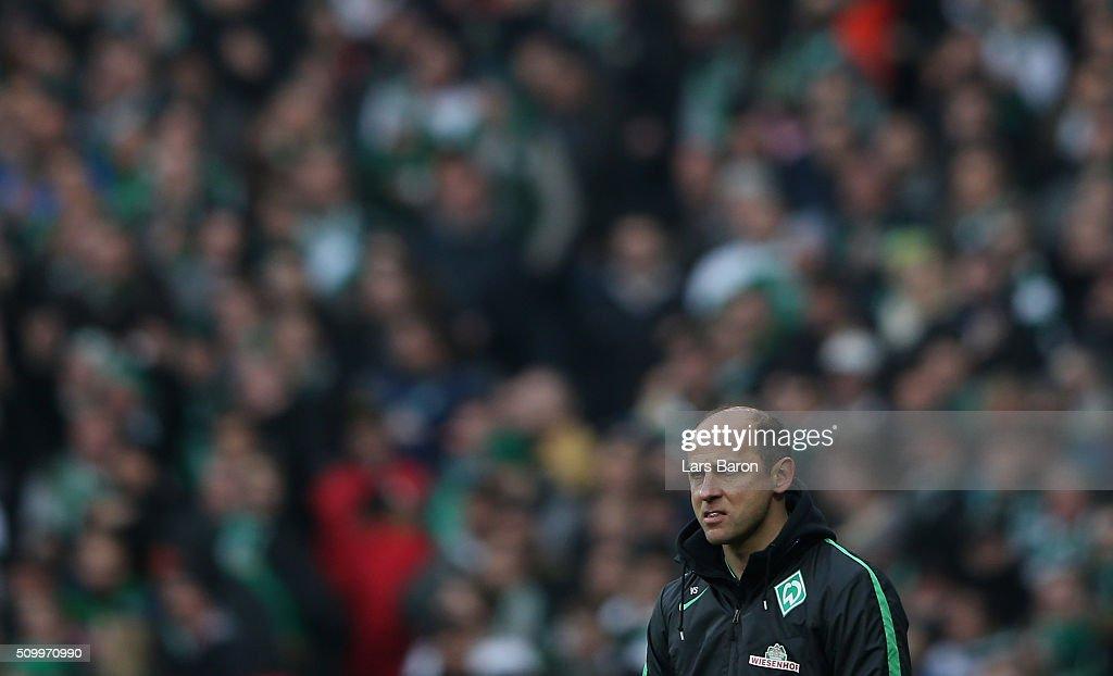 Head coach Viktor Skripnik of Bremen looks on during the Bundesliga match between Werder Bremen and 1899 Hoffenheim at Weserstadion on February 13, 2016 in Bremen, Germany.