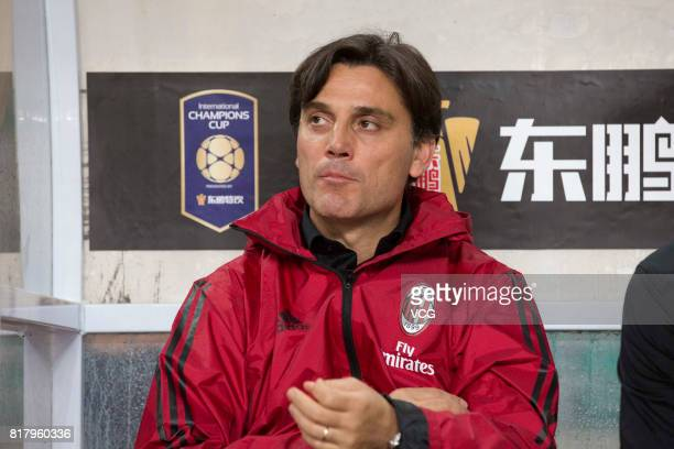 Head coach Vincenzo Montella of AC Milan looks on during the 2017 International Champions Cup China between AC Milan and Borussia Dortmund at...
