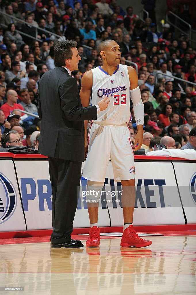 Head Coach Vinny Del Negro and Grant Hill #33 of the Los Angeles Clippers share a word during their game against the Oklahoma City Thunder at Staples Center on January 22, 2013 in Los Angeles, California.