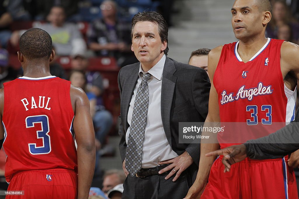 Head Coach Vinny Del Negro, Chris Paul #3 and Grant Hill #33 of the Los Angeles Clippers in a game against the Sacramento Kings on March 19, 2013 at Sleep Train Arena in Sacramento, California.