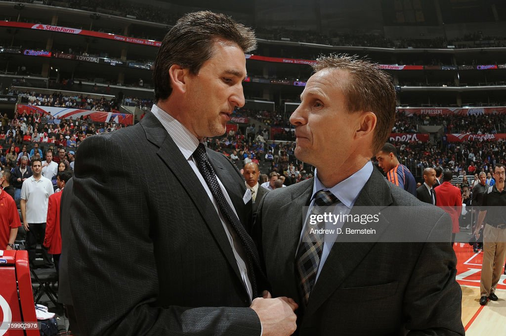 Head coach Vinny Del Negro of the Los Angeles Clippers and Head coach Scott Brooks of the Oklahoma City Thunder greet each other before their game at Staples Center on January 22, 2013 in Los Angeles, California.