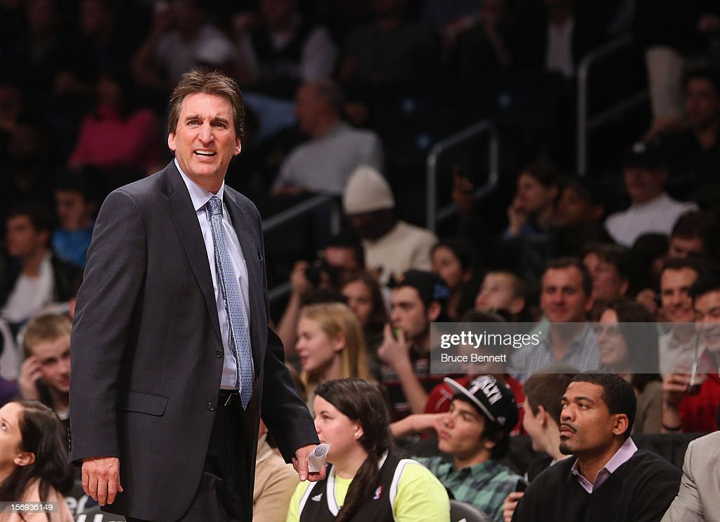 Head coach <a gi-track='captionPersonalityLinkClicked' href=/galleries/search?phrase=Vinny+Del+Negro&family=editorial&specificpeople=2115024 ng-click='$event.stopPropagation()'>Vinny Del Negro</a> of the Los Angeles Clippers argues a call in his game against the Brooklyn Nets at the Barclays Center on November 23, 2012 in the Brooklyn borough of New York City.