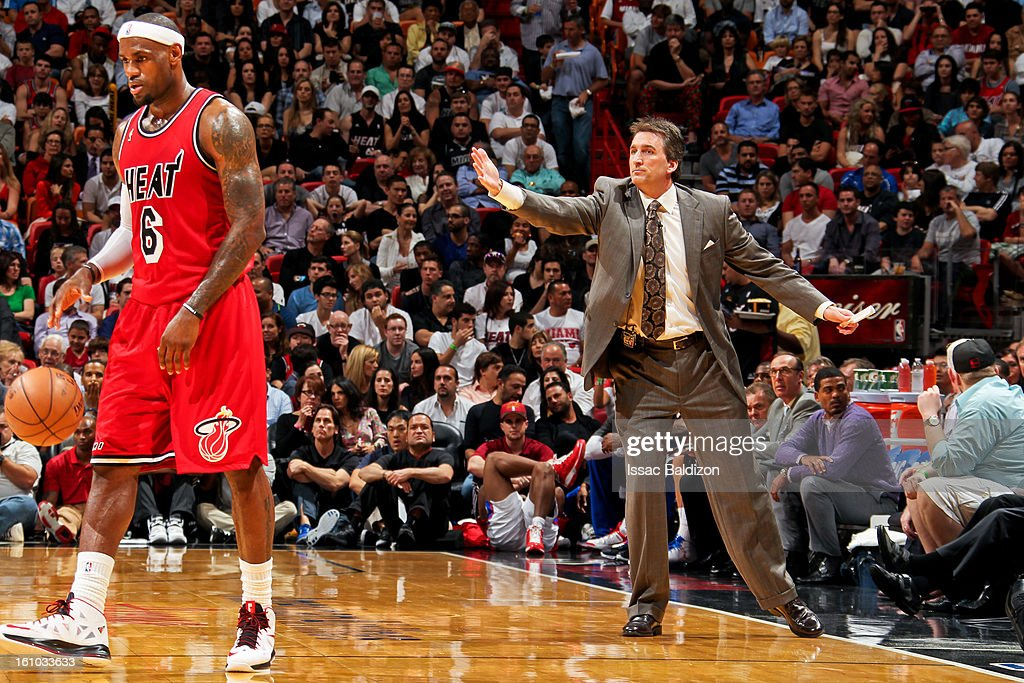 Head Coach Vinny Del Negro of the Los Angeles Clippers directs his team as LeBron James #6 of the Miami Heat controls the ball during their game on February 8, 2013 at American Airlines Arena in Miami, Florida.