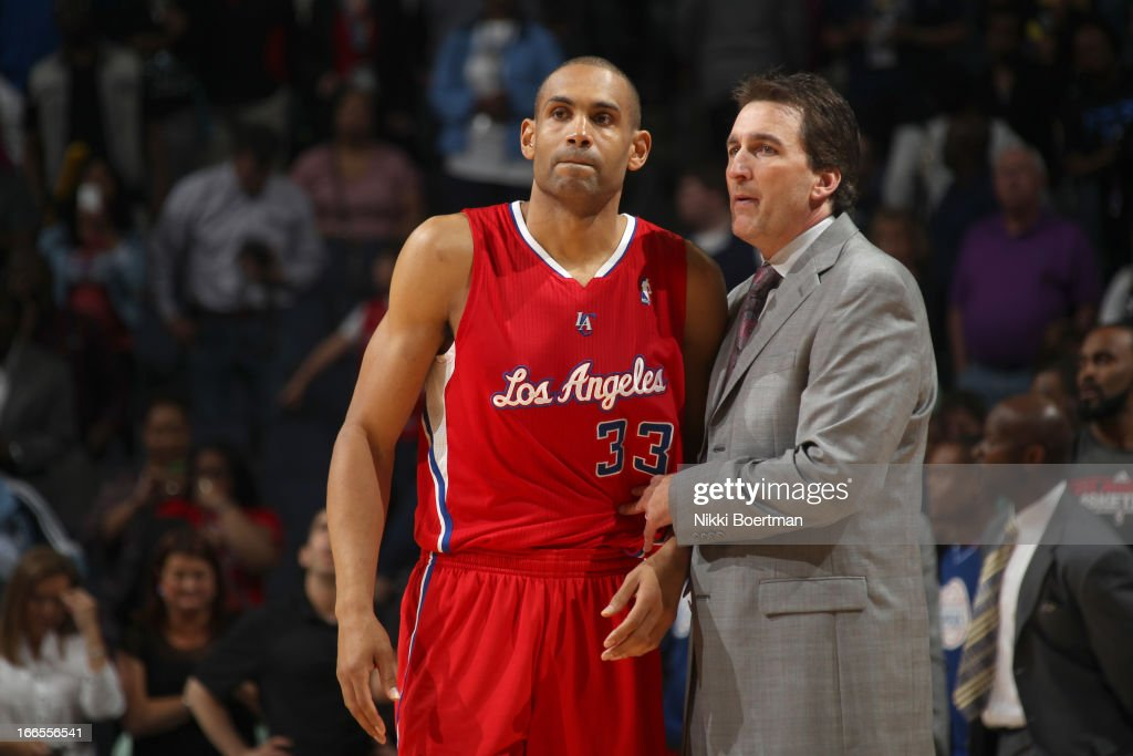 Head Coach Vinny Del Negro of the Los Angeles Clippers insturct Grant Hill #33 of the Los Angeles Clippers during the game between the Los Angeles Clippers and the Memphis Grizzlies on April 13, 2013 at FedExForum in Memphis, Tennessee.