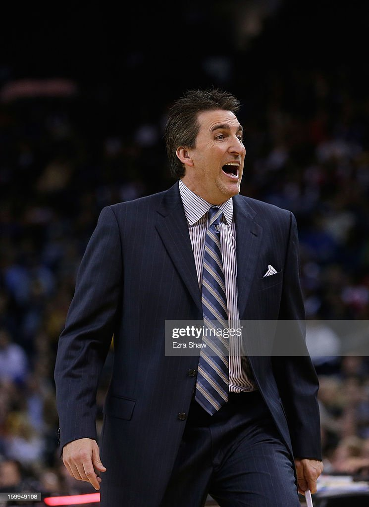 Head coach <a gi-track='captionPersonalityLinkClicked' href=/galleries/search?phrase=Vinny+Del+Negro&family=editorial&specificpeople=2115024 ng-click='$event.stopPropagation()'>Vinny Del Negro</a> of the Los Angeles Clippers on the sideline during their game against the Golden State Warriors at Oracle Arena on January 21, 2013 in Oakland, California.