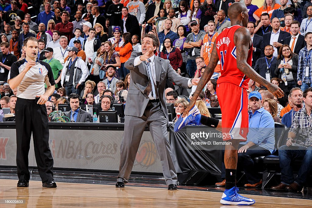 Head Coach Vinny Del Negro of the Los Angeles Clippers reacts as his team plays against the Phoenix Suns at US Airways Center on January 24, 2013 in Phoenix, Arizona.