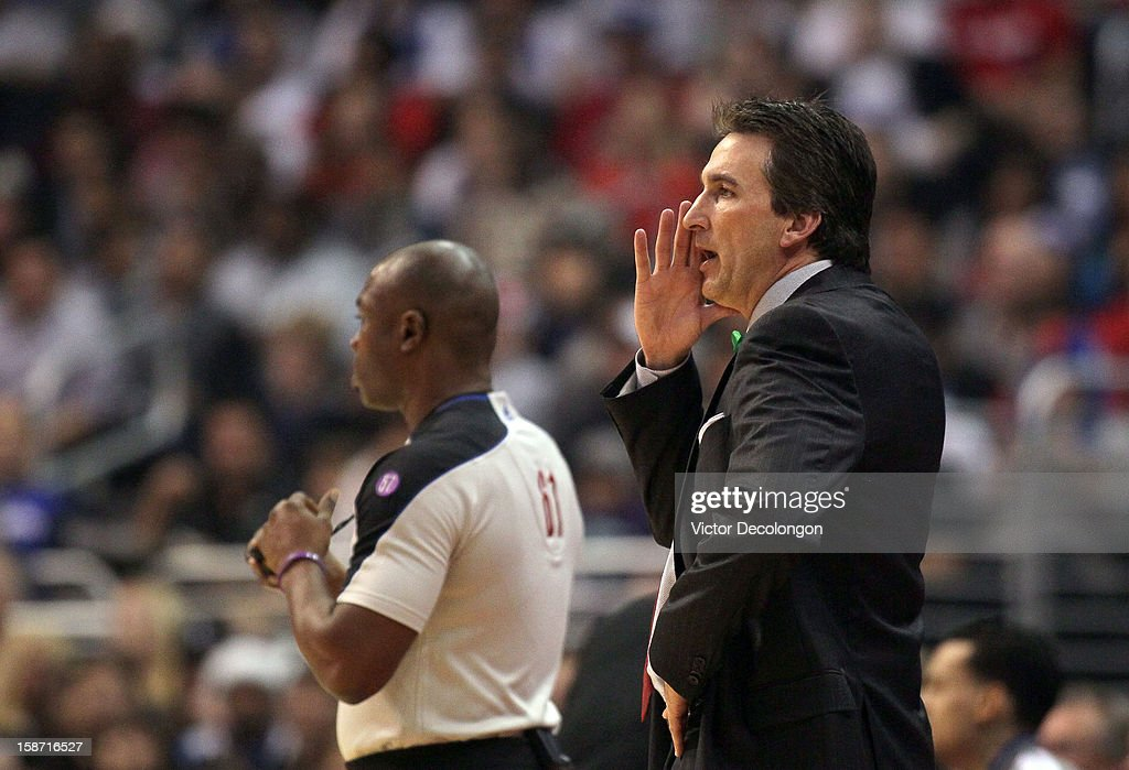 Head Coach Vinny Del Negro of the Los Angeles Clippers yells instructions to his players on the floor during the NBA game against the Denver Nuggets at Staples Center on December 25, 2012 in Los Angeles, California. The Clippers defeated the Nuggets 112-100.