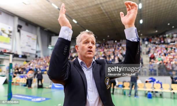 Head coach Vital Heynen of Friedrichshafen celebrates the victory against Berlin during the Volleyball final playoffs match 1 between VFB...