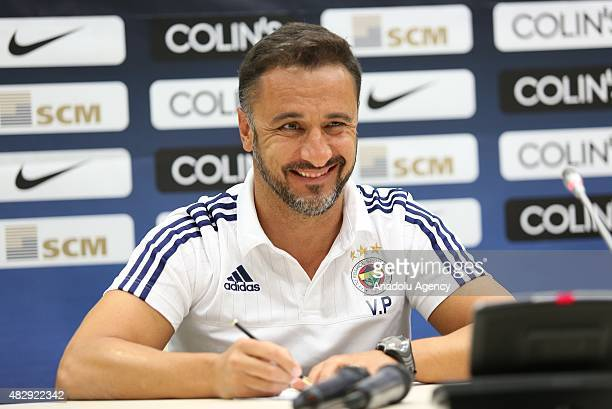 Head coach Vitor Pereira of Fenerbahce holds a press conference at Lviv Arena in Ukraine on August 4 2015 ahead of the UEFA Champions League third...