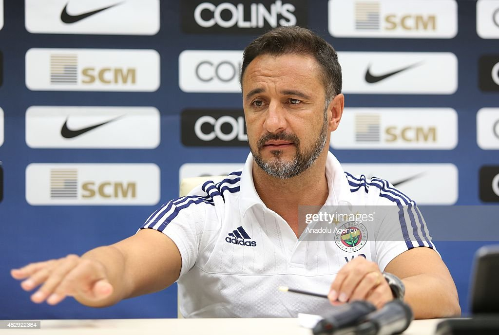 Head coach <a gi-track='captionPersonalityLinkClicked' href=/galleries/search?phrase=Vitor+Pereira+-+Soccer+Coach&family=editorial&specificpeople=8936057 ng-click='$event.stopPropagation()'>Vitor Pereira</a> of Fenerbahce holds a press conference at Lviv Arena in Ukraine on August 4, 2015 ahead of the UEFA Champions League third qualifying round match between Fenerbahce and Shakhtar Donetsk.