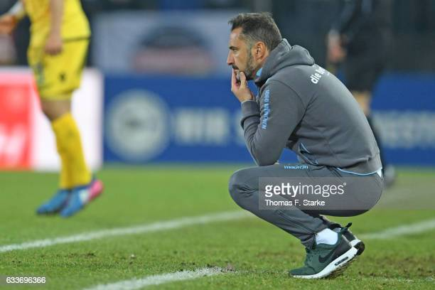 Head coach Vitor Pereira of Munich reacts during the Second Bundesliga match between DSC Arminia Bielefeld and TSV 1860 Muenchen at Schueco Arena on...