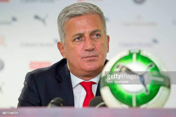 Head Coach Vladimir Petkovic at the press conference after the World Cup Qualifiers group match between Switzerland and Latvia on March 25 at Stade...