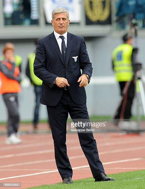 Head coach Vladimir Petkovic of Lazio looks on the touchline during the Serie A match between SS Lazio and Genoa CFC at Stadio Olimpico on November 3...