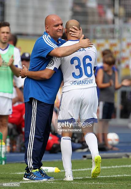 Head coach Volcan Uluc and Velimir Jovanovic of Jena during the First Round of DFBCup between FC Carl Zeiss Jena and Hamburger SV at...