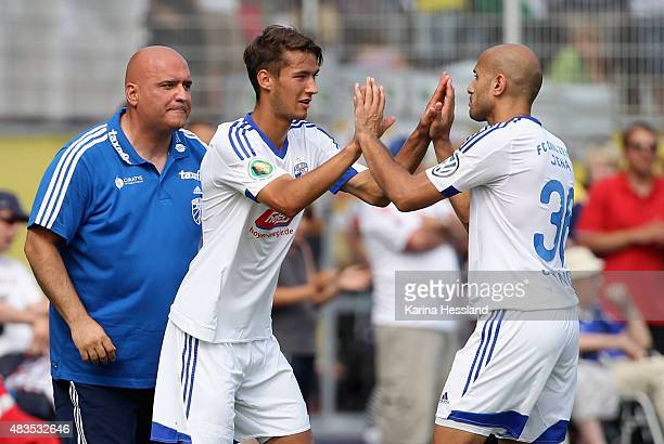 Head coach Volcan Uluc Johannes Pieles and Velimir Jovanovic of Jena during the First Round of DFBCup between FC Carl Zeiss Jena and Hamburger SV at...