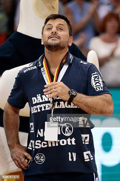 Head coach Vranjes Ljubomir of Flensburg appears frustrated after the bundesliga match between SG Flensburg and Bergischer HC at FlensArena on June 5...