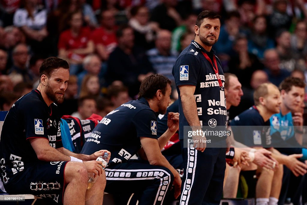 Head coach Vranjes Ljubomir of Flensburg appears frustrated during the DKB REWE Final Four Finale 2016 between SG Flensburg Handewitt and SC Magdeburg at Barclaycard Arena on May 1, 2016 in Hamburg, Germany.
