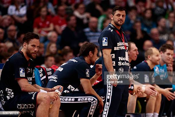 Head coach Vranjes Ljubomir of Flensburg appears frustrated during the DKB REWE Final Four Finale 2016 between SG Flensburg Handewitt and SC...