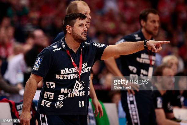 Head coach Vranjes Ljubomir of Flensburg gesticulated during the DKB REWE Final Four Finale 2016 between SG Flensburg Handewitt and SC Magdeburg at...