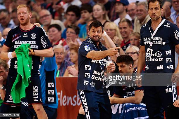 Head coach Vranjes Ljubomir of Flensburg gesticulated during the bundesliga match between SG Flensburg and Bergischer HC at FlensArena on June 5 2016...