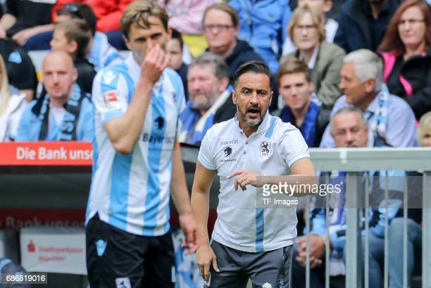 Head coach Vítor Pereira of 1860 Munich gestures during the Second Bundesliga match between TSV 1860 Muenchen and VfL Bochum at Allianz Arena on May...